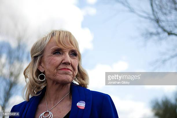 Arizona Gov Jan Brewer talks to the news media after voting in the Republican presidential primary February 28 2012 in Glendale Arizona Arizona is a...