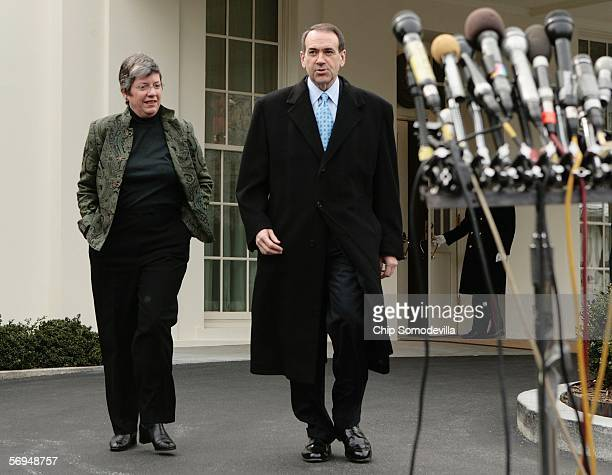 Arizona Governor Janet Napolitano and Arkansas Governor Mike Huckabee , chairman of the National Governors Association, leave the West Wing of the...