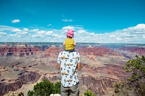USA, Arizona, Grand Canyon National Park, father and baby girl enjoying the view - gettyimageskorea