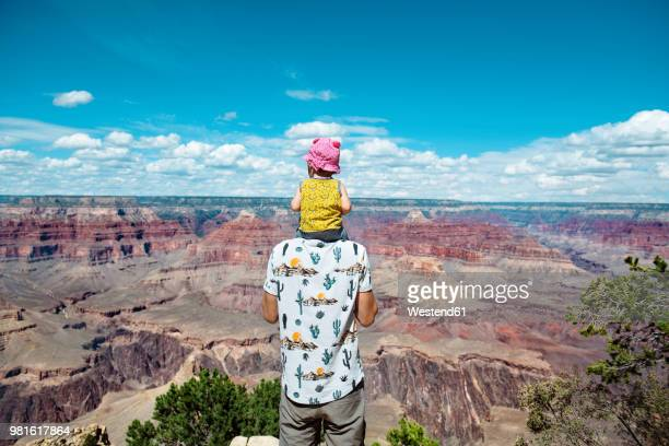 usa, arizona, grand canyon national park, father and baby girl enjoying the view - national park stock pictures, royalty-free photos & images