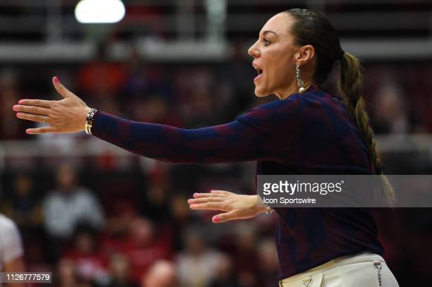 Arizona head coach Adia Barnes during the women's basketball game between the Arizona Wildcats and the Stanford Cardinal at Maples Pavilion on...