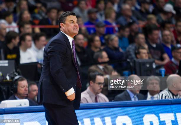 Arizona head coach Sean Miller tries to get his team fired up against Buffalo in the first round of the NCAA Tournament's West Regional on Thursday...