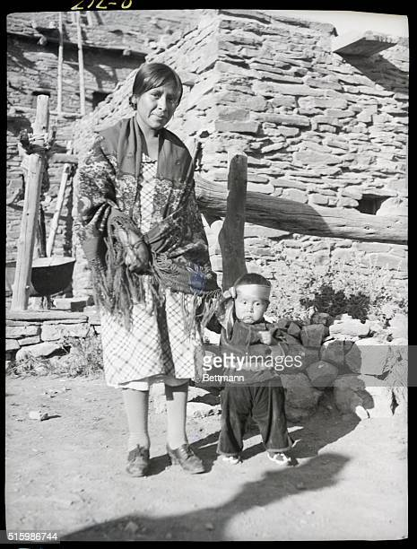 Arizona Hopi Indian mother and child at El Tovar Grand Canyon Undated photo