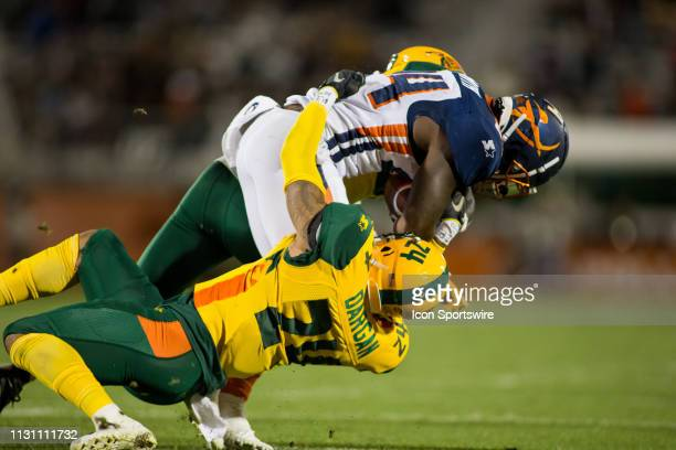 Arizona Hotshots defensive back Erick Dargan makes a crucial stop in the second half during the Orlando Apollos AAF football against the Arizona...