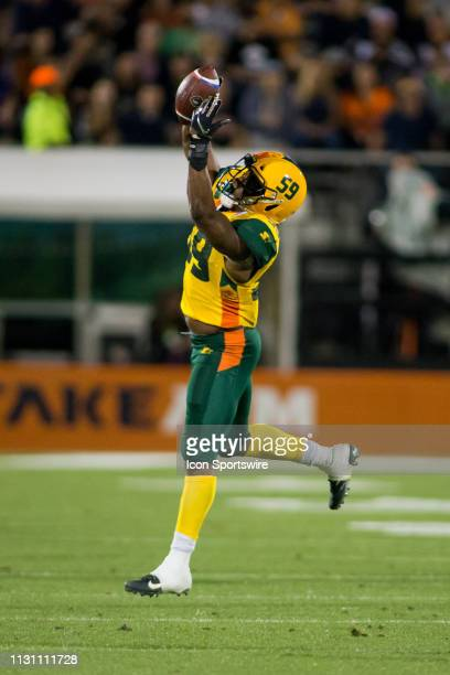 Arizona Hotshots linebacker Steven Johnson catches an interception in the first half during the Orlando Apollos AAF football against the Arizona...