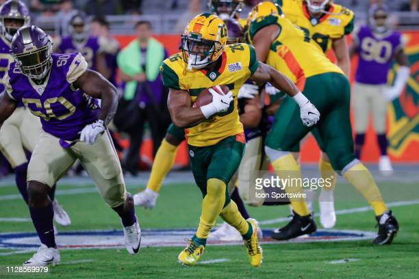 Arizona Hotshots running back Jhurell Pressley runs the ball during the AAF football game between the Atlanta Legends and the Arizona Hotshots on...