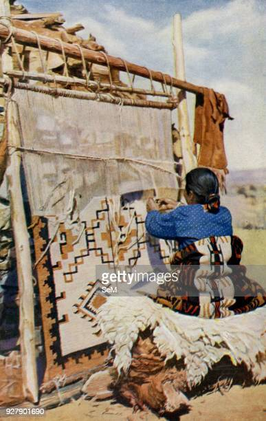 Arizona In the heart of the desert of Arizona Navaho blankets are woven their beauty and utility attracting many customers 1920