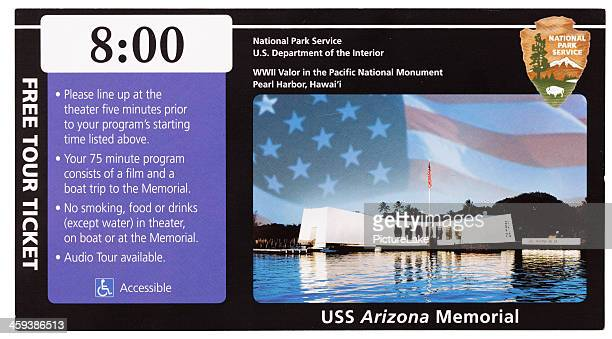 uss arizona memorial ticket stub - uss_arizona stock pictures, royalty-free photos & images