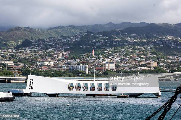 USS Arizona Memorial view from the USS Missouri the Mighty Mo berthed at Pearl Harbor Hawaii Island of Oahu September 2 commemorates the 1945 formal...