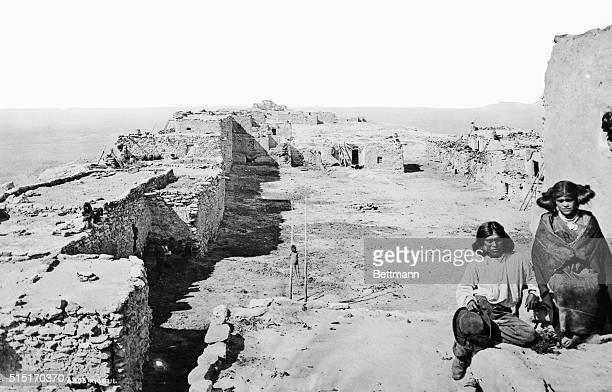Moqui Settlement A view from Tequa toward Moqui Undated photograph