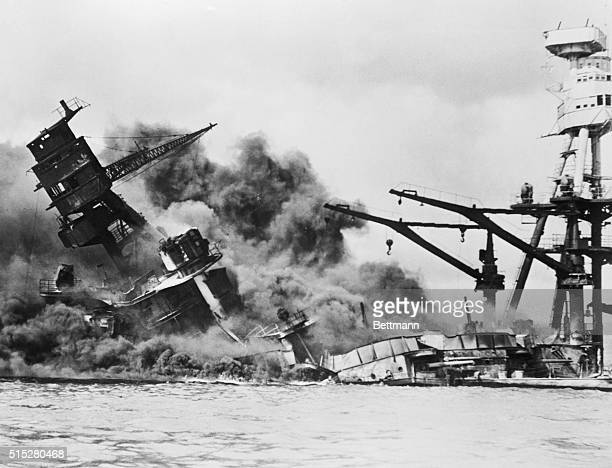 USS Arizona Mortally Wounded and Sinking