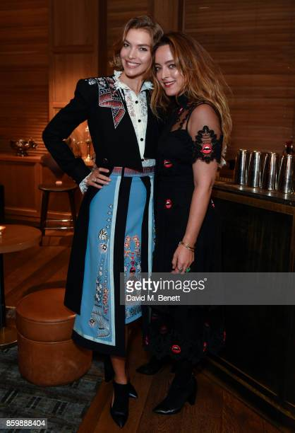 Arizona Muse Alice Temperley attend the launch of the book 'Alice Temperley English Myths and Legends' at The London Edition Hotel on October 10 2017...