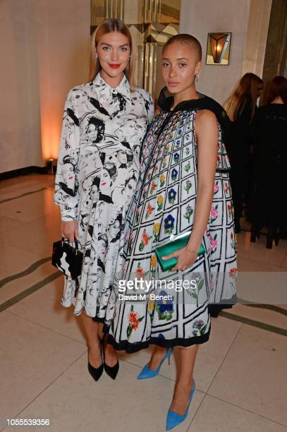Arizona Muse and Adwoa Aboah attend the Harper's Bazaar Women Of The Year Awards 2018 in partnership with Michael Kors and MercedesBenz at Claridge's...