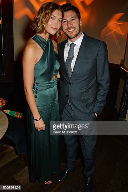 Arizona Muse and Boniface VerneyCarron attend Fashion Targets Breast Cancer's 20th Anniversary Party at 100 Wardour St on April 12 2016 in London...