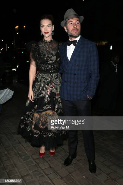 Arizona Muse and Boniface VerneyCarron seen attending London Fabulous Fund Fair at Roundhouse during LFW February 2019 on February 18 2019 in London...