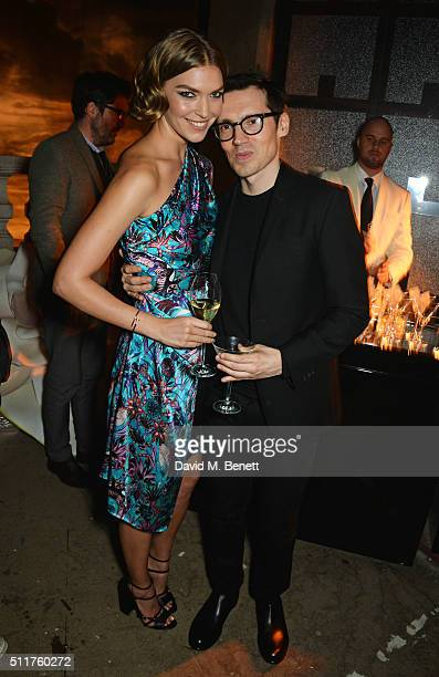 Arizona Muse and Erdem Moralioglu attend the Erdem x Selfridges LFW Afterpary at the Old Selfridges Hotel on February 22 2016 in London England
