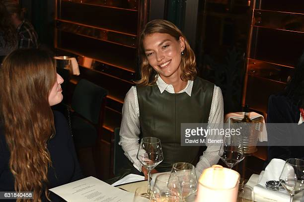 Arizona Muse and guest attend the Rodial dinner hosted by Poppy Delevingne and Maria Hatzistefanis at Casa Cruz on January 16 2017 in London England