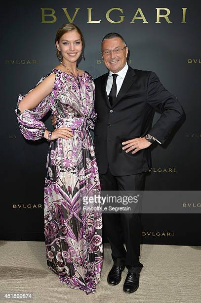 Arizona Muse and JeanChristophe Babin attend the Bulgari Cocktail Event At Apicius as part of Paris Fashion Week at Apicius on July 8 2014 in Paris...