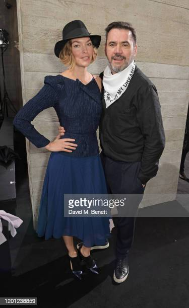 Arizona Muse and Roland Mouret attend the Roland Mouret show during London Fashion Week February 2020 at The National Theatre on February 16, 2020 in...