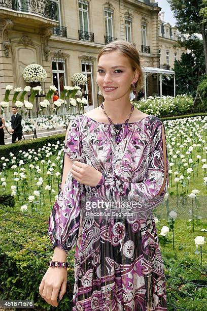 Arizona Muse attends the Bulgari Cocktail Event At Apicius as part of Paris Fashion Week at Apicius on July 8 2014 in Paris France