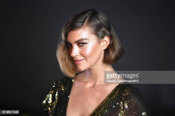Arizona Muse backstage ahead of the Temperley London show during London Fashion Week February 2018 at on February 18 2018 in London England