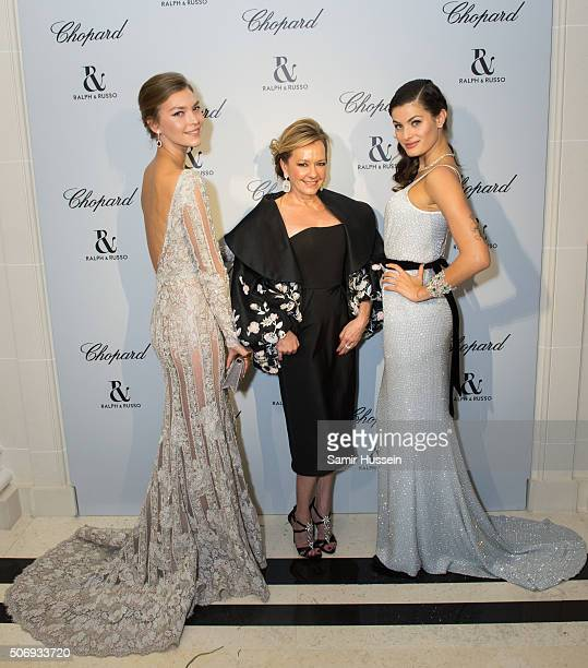 Arizona Muse Caroline Scheufele and Isabeli Fontana attend the Ralph Russo and Chopard dinner during part of Paris Fashion Week on January 25 2016 in...