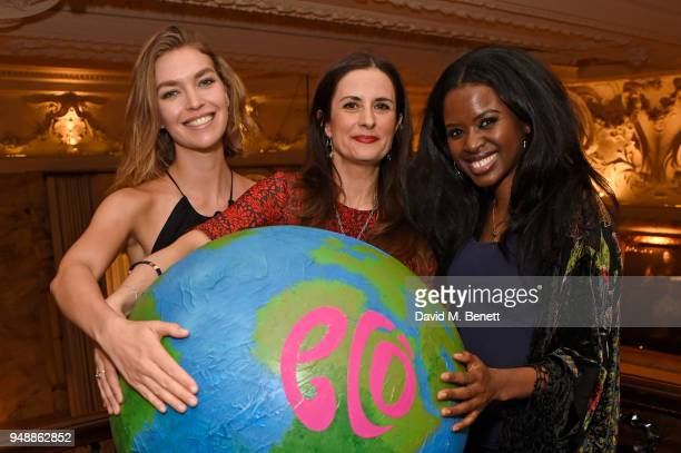 Arizona Muse EcoAge founder and creative director Livia Firth and June Sarpong attend the Eco Age Earth Day party at The London EDITION on April 19...