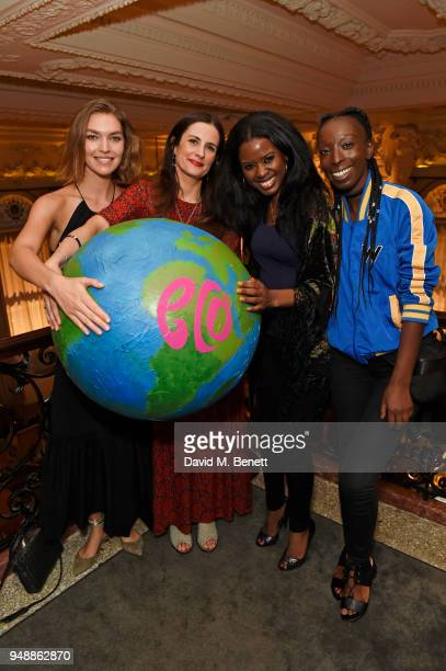 Arizona Muse EcoAge founder and creative director Livia Firth June Sarpong and Eunice Olumide attend the Eco Age Earth Day party at The London...