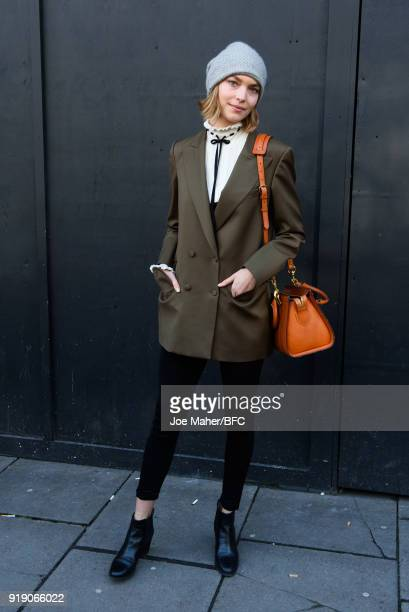 Arizona Muse is seen during London Fashion Week February 2018 on February 16 2018 in London England