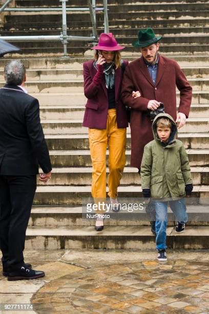 Arizona Muse is seen leaving the the Givenchy show with her husband Boniface VerneyCarron and her son Nikko Quintana as part of the Paris Fashion...
