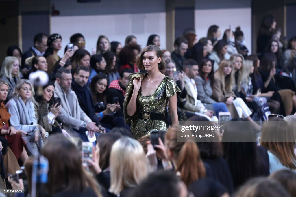 Arizona Muse walks the runway at the Temperley London show during London Fashion Week February 2018 at on February 18, 2018 in London, England.
