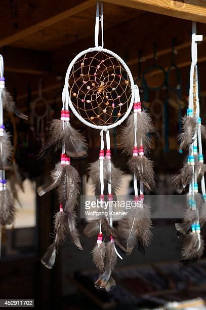 USA Arizona Navajo Indian Reservation Near Cameron Craft Stands With Navajo Crafts Dreamcatcher