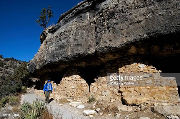 Arizona, Near Flagstaff, Walnut Canyon National Monument, Canyon Wall With Sinagua Dwellings From About 1100 Ad, Tourist .