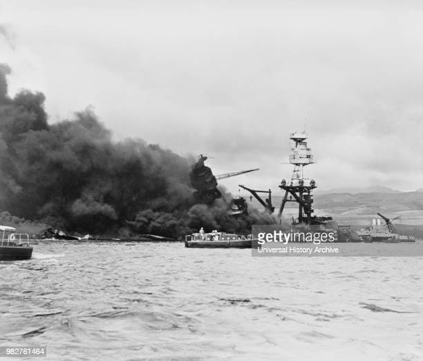 Arizona on Fire after Imperial Japanese Navy Air Service Attack, Pearl Harbor Hawaii, Office of Emergency Management, December 7, 1941.