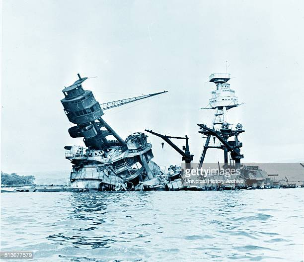 USS Arizona Pearl Harbour after the Japanese attack in World War II 1941