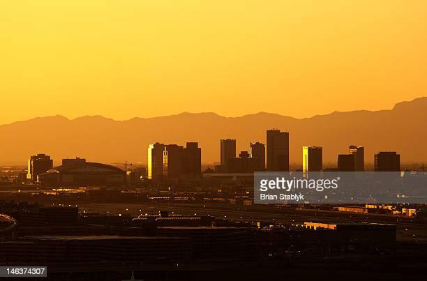 USA, Arizona, Phoenix Skyline at Dusk