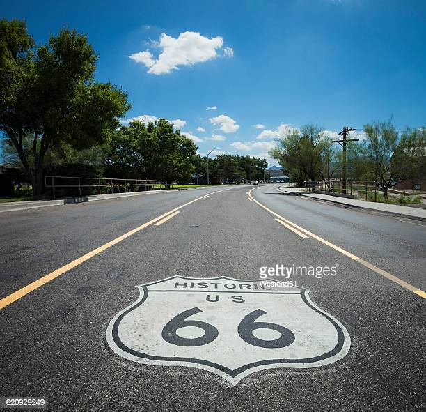 USA, Arizona, road with Route 66 sign