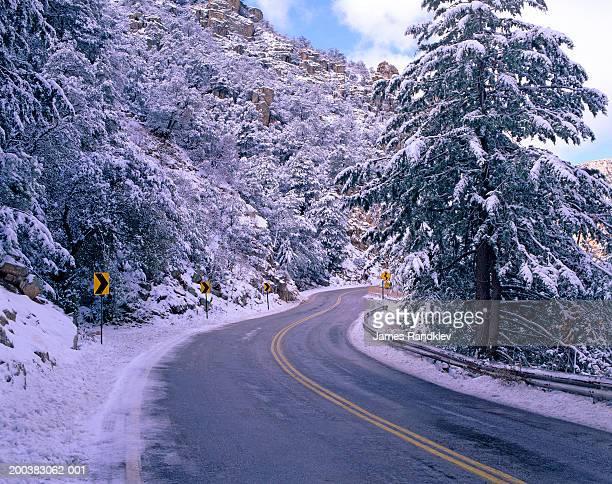 usa, arizona, santa catalina mountains, mt. lemmon highway and snow - mt lemmon stock photos and pictures