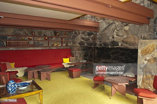 Arizona Scottsdale Taliesin West of Architect Frank Lloyd Wright Sitting Room with Wright Designed Furniture
