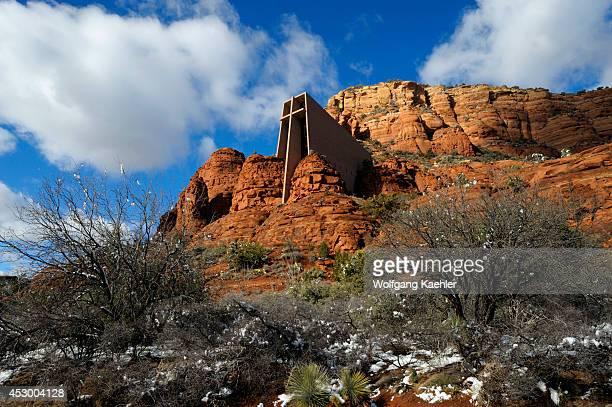 Arizona, Sedona, The Chapel Of The Holy Cross With Snow.