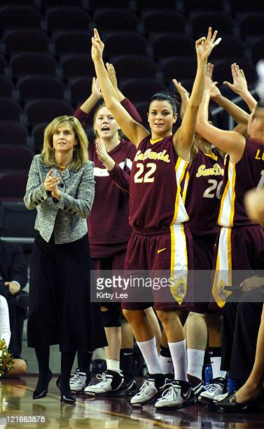Arizona State coach Charli Turner Thorne and Jill Noe celebrate during 6857 victory over USC in Pacific10 Conference women's basketball game at the...