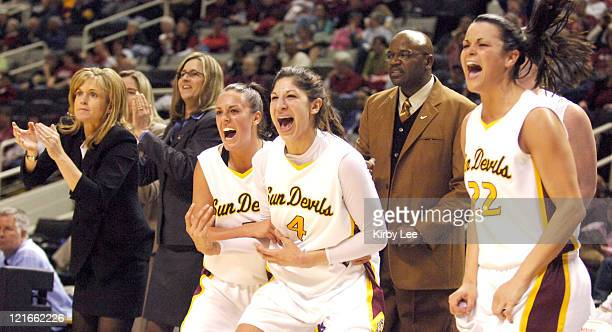 Arizona State coach Charlie Turner Thorne Reagan Pariseau Emily Westerberg and Jill Noe celebrate during 7466 victory over Oregon State in Pacific10...