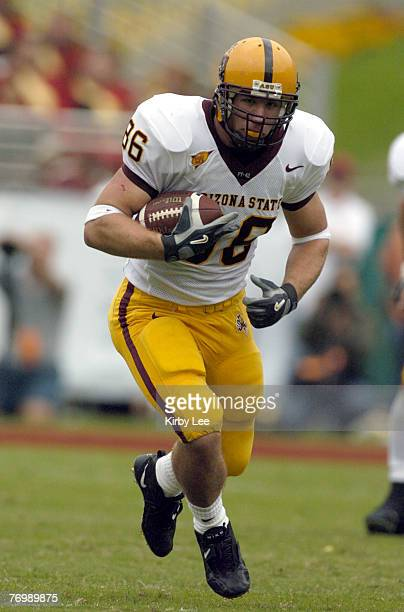 Arizona State freshman tight end Zach Miller during 457 loss to USC in Pacific10 Conference football game at the Los Angeles Memorial Coliseum on...