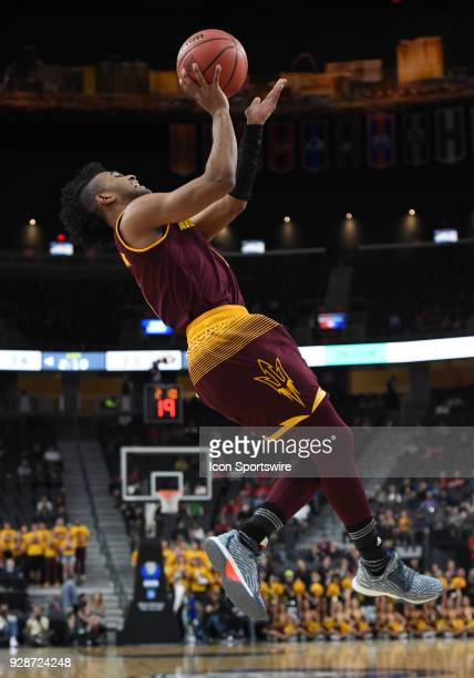 Arizona State guard Remy Martin goes up for an off balance shot during the PAC12 Men's Basketball Tournament game between the Arizona State Sun...