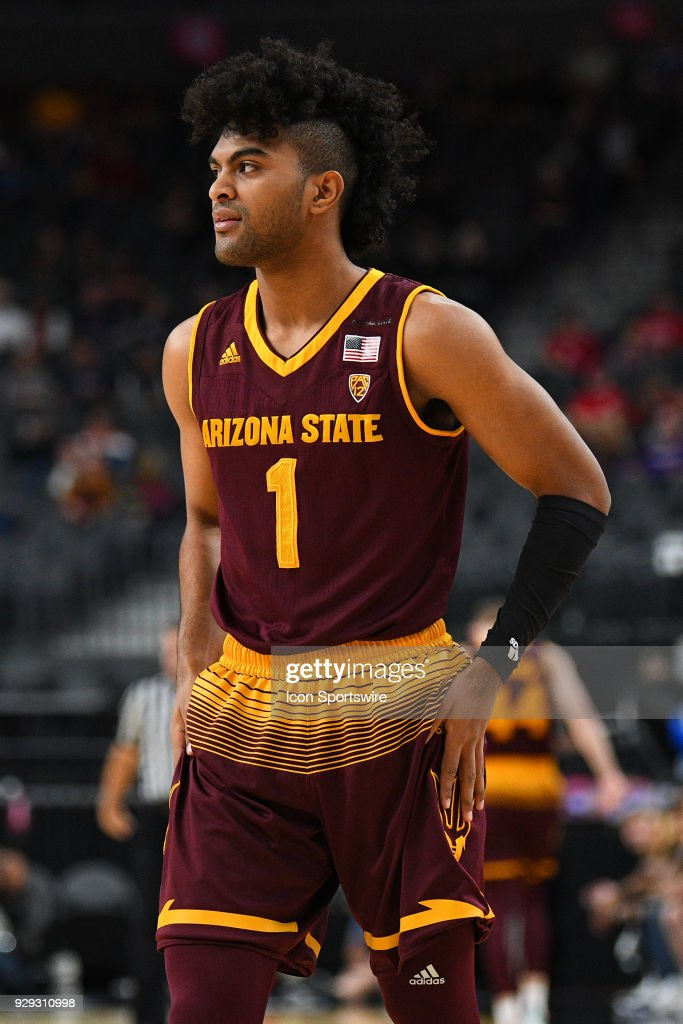 Arizona State guard Remy Martin (1) looks on during the first round game of the mens Pac-12 Tournament between the Colorado Buffaloes and the Arizona State Sun Devils on March 7, 2018, at the T-Mobile Arena in Las Vegas, NV.