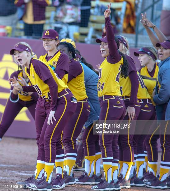 Arizona State Sun Devils celebrates a home run during the a college softball game between the CSUN Matadors and the Arizona State Sun Devils during...