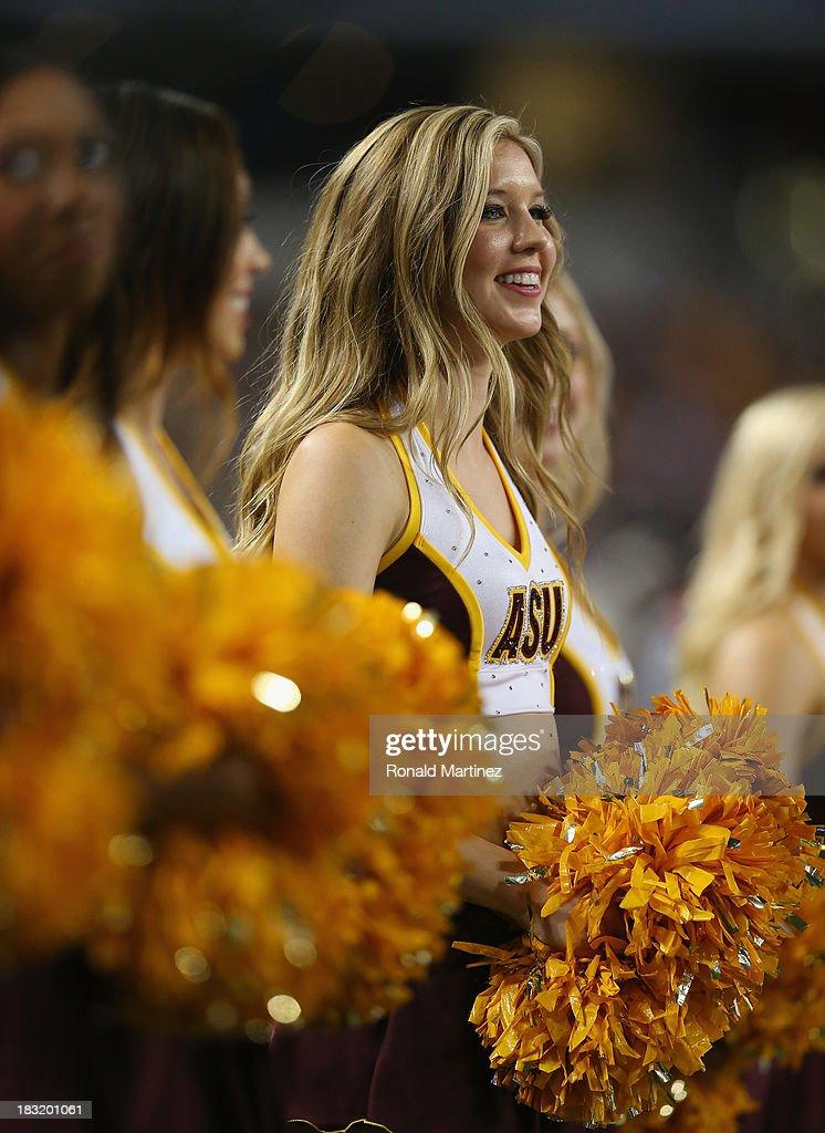 A Arizona State Sun Devils cheerleader at Cowboys Stadium on October 5, 2013 in Arlington, Texas.