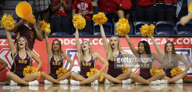 Arizona State Sun Devils cheerleader cheer during the a college women's basketball game between Arizona State Sun Devils and Arizona Wildcats on...
