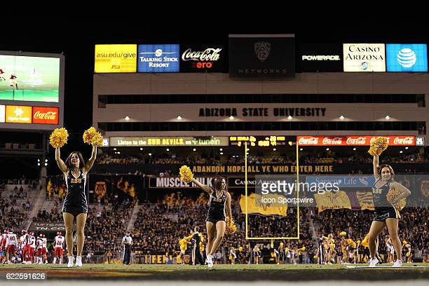 Arizona State Sun Devils cheerleaders dance on the field during the second half of the Pac12 college football game against the Utah Utes on November...