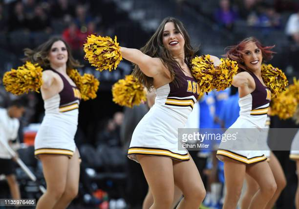 Arizona State Sun Devils cheerleaders perform during a quarterfinal game of the Pac12 basketball tournament against the UCLA Bruins at TMobile Arena...